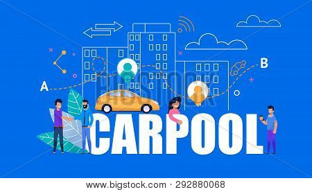 Carpool Modern Banner. Yellow Car With City People. Modern Line Art Cityscape Town Building. Happy M