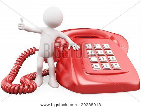 3D Man With A Huge Red Phone