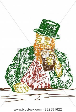 Man With Red Beard Holds A Mug Of Beer. Green Top Hat And Frock Coat. Colorful Illustration For Part