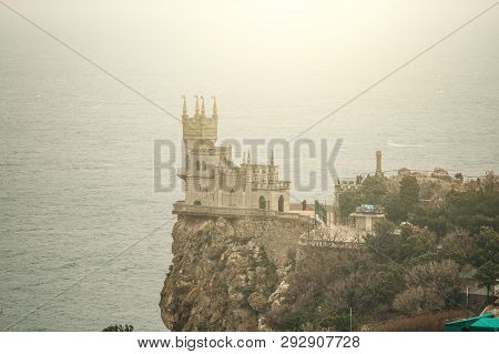 Swallow Nest - Ancient Castle On Top Of Mountain Cliff Near Sea Yalta Region, Crimea. Beautiful Famo