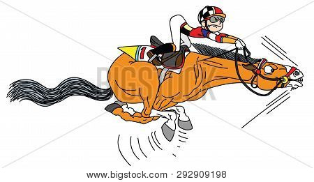 Cartoon Race Horse With Jockey Galloping In The Full Speed . Funny Equestrian Sport. Derby. Vector I