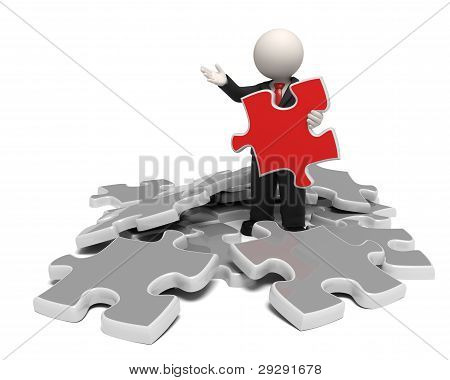 3D Man In Business Costume Found The Solution Puzzle