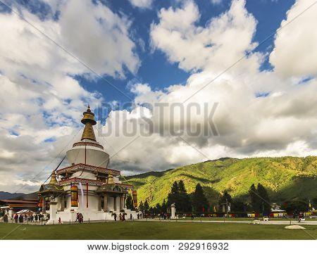 Doeboom Lam, Thimphu, Bhutan - 2017: National Memorial Chorten Is A Stupa Built In 1974 To Honor The