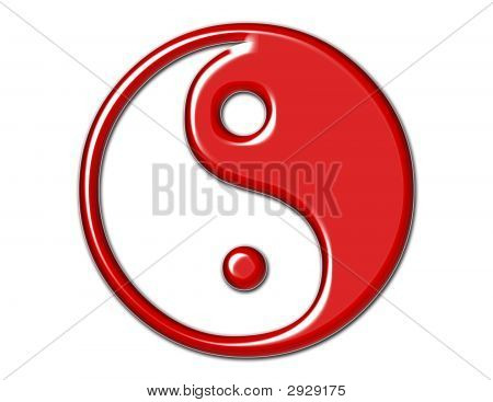 Yin Yang Symbol In Bright Red