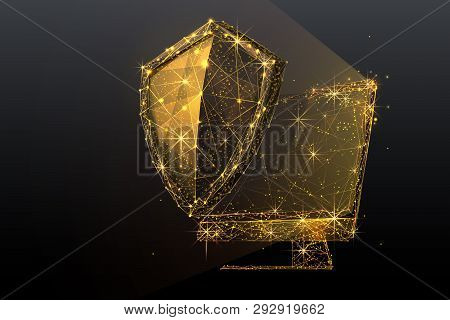 Knight Shield And Pc Or Monitor Screen. Computer Safe And Security Concept. Data Protection Sign. Go