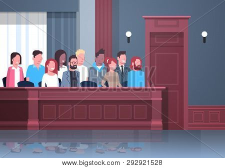 Jury Sitting In Box Court Trial Session Mix Race People In Judging Process Modern Courtroom Interior