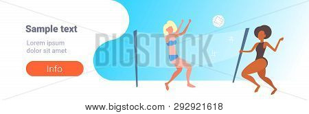 Mix Race Women Couple Playing Volleyball Girls With Volley Ball Having Fun On Beach Active Lifestyle
