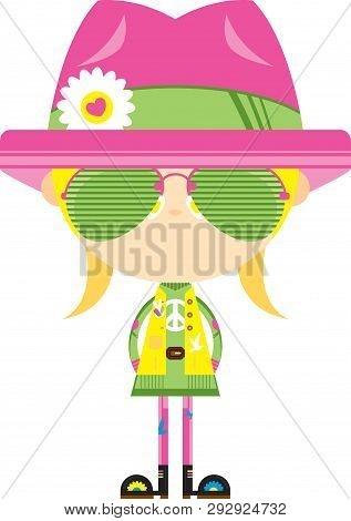 Cartoon Sixties Flower Power Hippie Girl In Flower Hat And Sunglasses