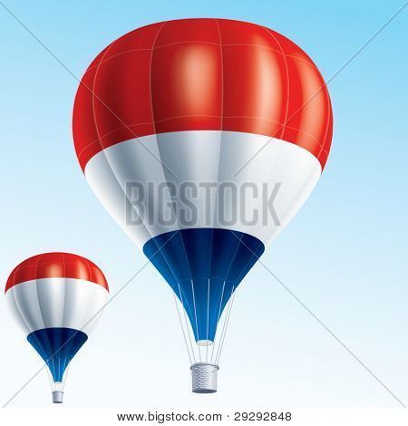 Hot balloons. Vector illustration of air balloons painted as Netherlands flag