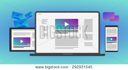 Online Advertising Concept In Laptop And Mobile Device - Programmatic Advertising Cross Targeting Au