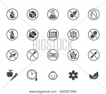 Natural Food Flat Glyph Icons Set. Sugar, Gluten Free, No Trans Fats, Salt, Egg, Nuts, Vegan Vector