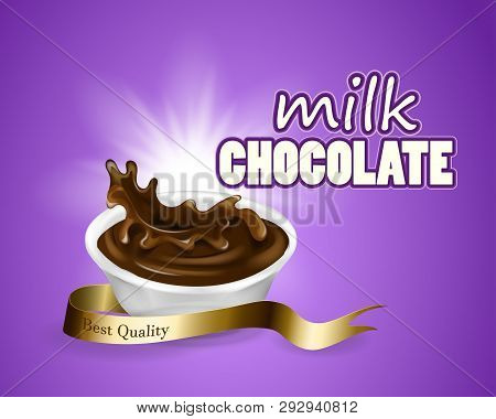 Splashing And Whirl Chocolate Liquid For Design Uses Purple Background In 3d Illustration Milk Choco