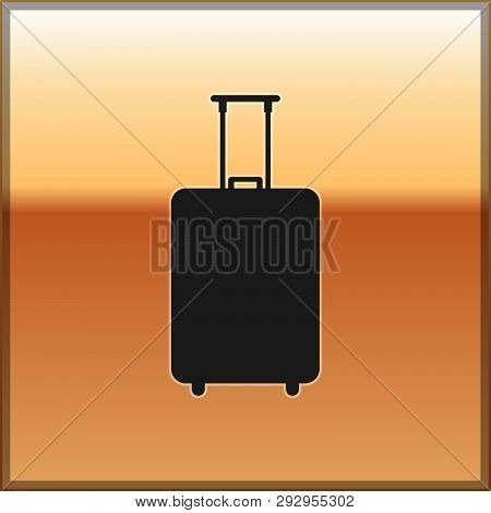 Black Travel Suitcase Icon Isolated On Gold Background. Traveling Baggage Sign. Travel Luggage Icon.