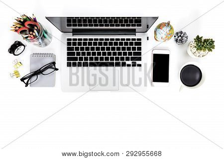 Top View Creative Flat Lay Photo Of Modern Workplace With Laptop, Top View Laptop Background And Cop