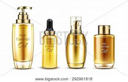 Vector 3d Realistic Essence In Golden Glass Bottle With Pump Dispenser. Hair Serums In Different Pac