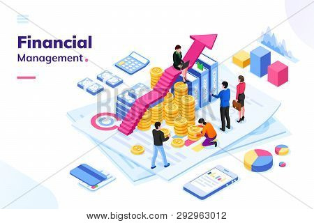 Isometric Office With Financial Auditor Or Finance People. Man And Woman Auditor Doing Tax Report Or