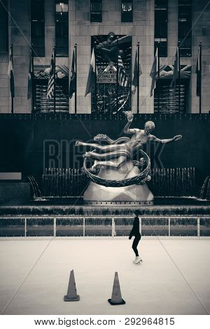 NEW YORK CITY, NY - MAR 30: Rockefeller Plaza ice rink on March 30, 2014 in New York City. Declared a National Historic Landmark in 1987, it is a complex of 19 commercial buildings