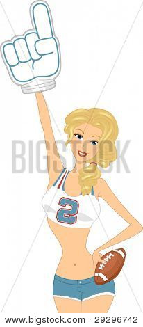 Illustration of a Cheerleader Holding a Number 1 Sign
