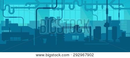 Creative Vector Illustration Of Factory Line Manufacturing Industrial Plant Scen Interior Background