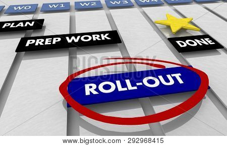 Rollout Implementation Execution Gantt Chart 3d Illustration poster