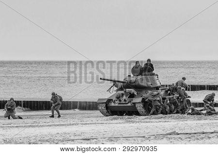 Kolobrzeg, West Pomeranian / Poland - 2019:  Reconstruction Of Battle For Kolobrzeg - The Polish Arm
