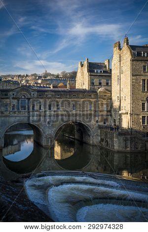 Pulteney Bridge And Weir In Bath In Somerset