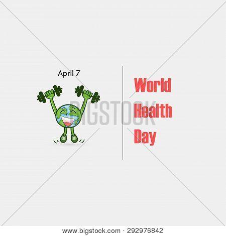 Globe Sign And Dumbbell Vector Logo.world Health Day Icon.world Health Day Cartoon Mascot Character.
