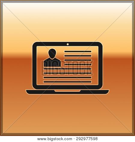 Black Laptop With Resume Icon Isolated On Gold Background. Cv Application. Searching Professional St
