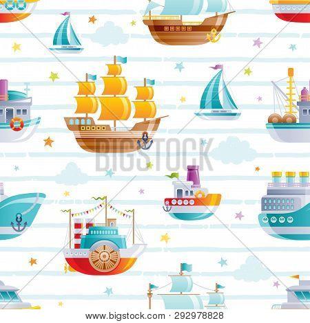 Cartoon Watet Transport Seamless Pattern. Cute 3d Baby Boy Toys. Boat, Galleon, Sail Ship Wallpaper