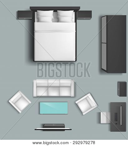 Home Living Room And Bedroom Furniture Set In Top View Interior 3d Realistic Vector Mockup. Double B