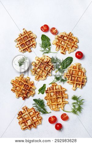 Healthy Breakfast. Savory  Spinach Dill Waffles, With Tzatziki On A White Background. View From Abov