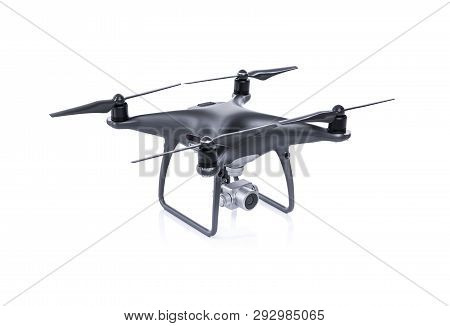 Black Drone With Camera Isolated On White Background. Quadcopter For Flying And Shooting 4k Uhd Vide