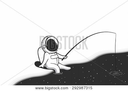 Astronaut Fisher Is Fishing In The Cosmic Sea.abstract Vector Image