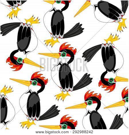 Bird Woodpecker Decorative Pattern On White Background