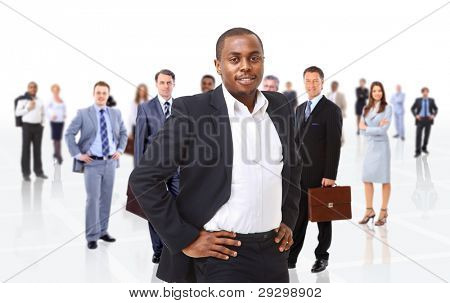 business man on a background of many people