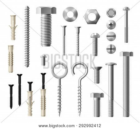 Construction Fasteners Isolated Realistic Set Of Screws, Bolts And Nuts. Vector Metallic Lag Screws,