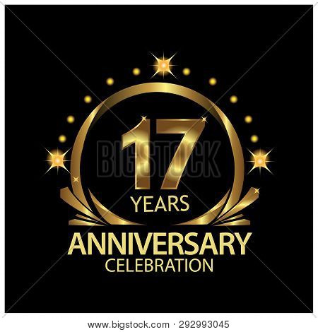 Seventeen Years Anniversary Golden. Anniversary Template Design For Web, Game ,creative Poster, Book