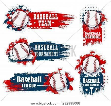 Baseball Sport Banners With Halftone Blue And Red Background. Vector Baseball Sport Championship Cup