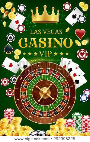 Casino Gamble Game Wheel Of Fortune Roulette With Dice And Poker Playing Cards. Vector Las Vegas Pok