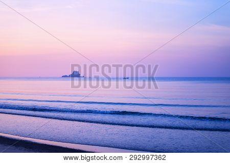 Early Morning Beautiful Seascape, Sunrise Over Sea.