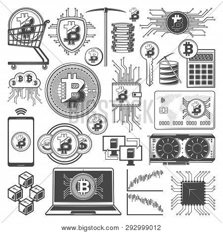 Bitcoin Cryptocurrency Mining And Digital Currency Blockchain Technology Symbols. Vector Crypto Curr
