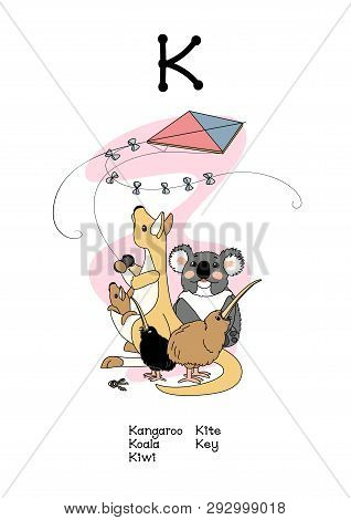 Vector Scandi Animals English Alphabet For Letter K