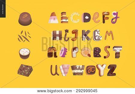 Dessert Font - Modern Flat Vector Concept Digital Illustration Of Temptation Font, Sweet Lettering.