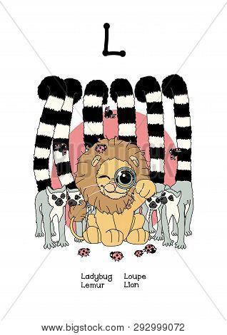 Vector Scandi Animals English Alphabet For Letter L