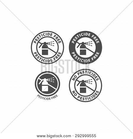 Pesticide Free And No Pesticides Ingredient Circle Label Icon Set. Pesticide Free Vector Badge Stick