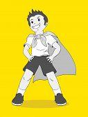 Cartoon illustration of a boy pretending to be a superhero poster