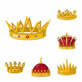 Vector design of monarchy and gold logo. Set of monarchy and heraldic stock symbol for web. poster