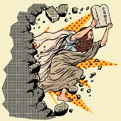 Moses with tablets of the Covenant 10 commandments breaks a wall, destroys stereotypes. Christian and Jewish religion. Old Testament prophet character. Pop art retro vector illustration vintage kitsch poster