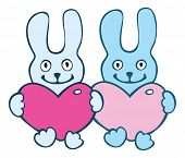 Couple rabbits. Vector illustration. Isolated over white. poster
