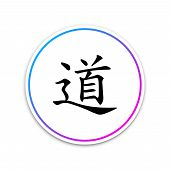 Chinese calligraphy, translation Dao, Tao, Taoism icon isolated on white background. Circle white button. Vector Illustration poster